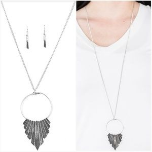 GOING GLADIATOR SILVER NECKLACE/EARRING SET